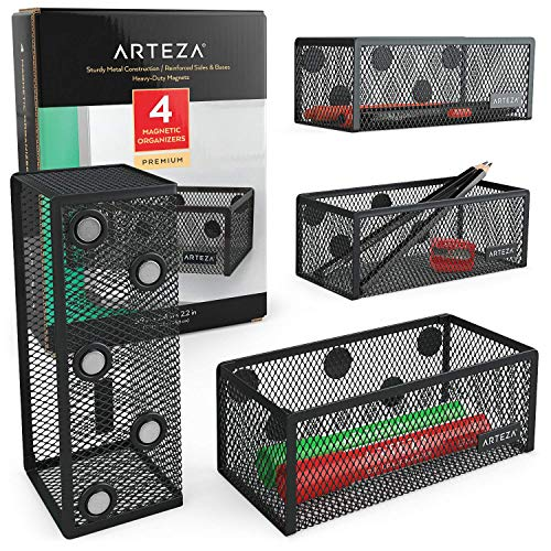 Arteza Mesh Magnetic Basket Organizers, Set of 4 Mesh Storage Baskets for Holding & Organizing Pencils, Pens, Office & Art Supplies