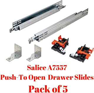 Salice A7557 Futura Push-To Open Drawer Slides, Full Extension, for Face-Frame, 75 lbs, Pack of 5 (21