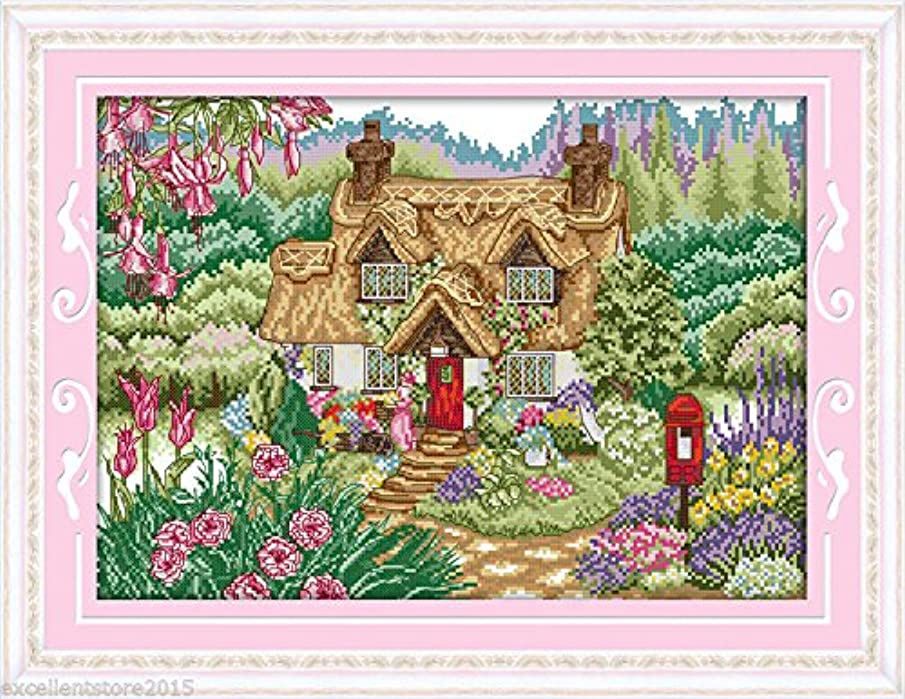 Flower cabin Embroidery Kit Precise Printed Needlework Cross stitch