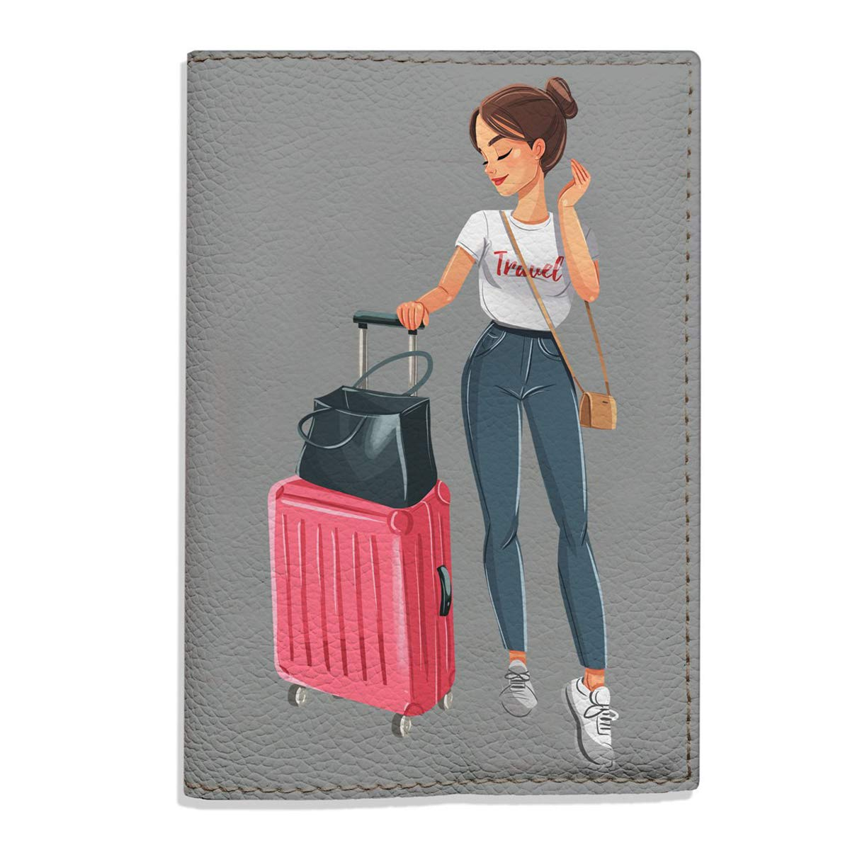 Travel Girl Passport Holder eco cover Bombing free shipping leather for sale documents gift