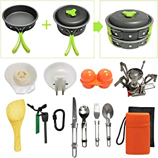 18pcs Camping Cookware Kit for 2-4 Person with Camp Stove- Non-Stick Portable Pots Pans Foldable Stainless Steel Knife/Fork/Spoon Hiking Gear (Cookware Set 3-Green)