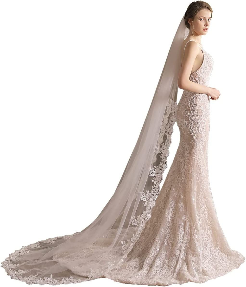 Indefinitely JZJZ Wedding Bridal Veil Single Layer 9 with Cathedral Comb Columbus Mall