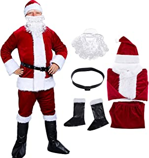 Santa Suit Claus Christmas Costume with Complete Accessories for Adults Paradise/Party/Cosplay Santa Suit
