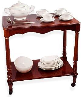 FranquiHOgar Chariot de service auxiliaire en bois avec roulettes et plateau pour cuisine et salle à manger vintage 2 nive...