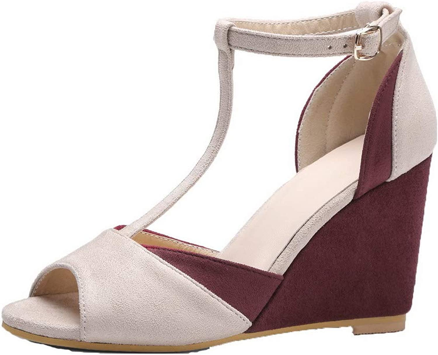 WeenFashion Women's Imitated Suede High-Heels Assorted color Buckle Sandals
