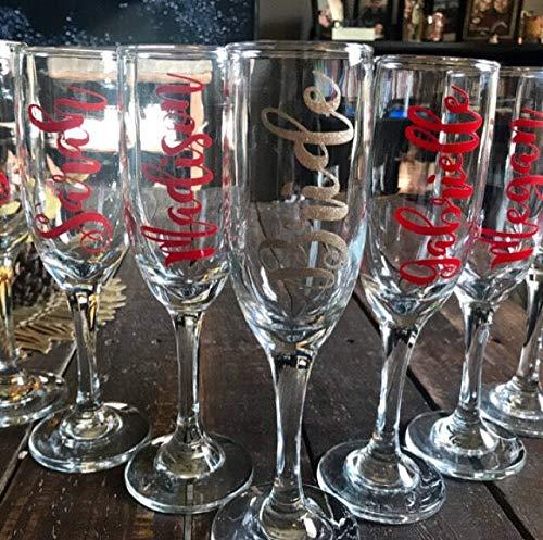 Naam Decals voor Champagne Glas, Vinyl Naam Stickers, Bruidsmeisje Voorstel, Wees Mijn Bruidsmeisje *Alleen Decal