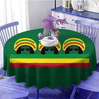 Nappe ronde jamaïcaine légère inspirée de la culture reggae jamaïcaine avec des formes minimales de tête avec des chapeau...