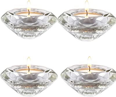 Ideal Gift for Wedding Special Occasions Parties Spa Aromatherapy African Violet Mini Pots O6 Hosley Set of 6 Chunky Clear Glass Large Tea Light LED Candle Holder 3.5 Inch Diameter