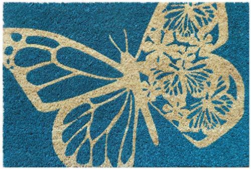 Entryways Schmetterling rutschfeste Coir Fußmatte, Kokosfaser, blau, 40 cm x 60 cm x 15 mm