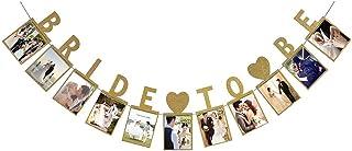 LINGPAR Bride to Be Photo Banner Gold Foiled for Wedding Sign Bridal Shower Banner Hen Night Decoration (Gold)
