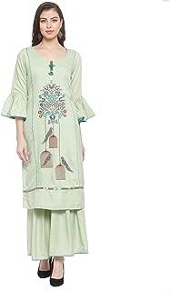 Aujjessa Women's Embroidered Kurta Sharara Salwar Suit with Dupatta (Green)