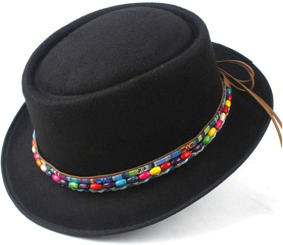 No-branded Fashion Men Women Winter Pork Pie Hat Dad Wool Fedora Hat Lady Flat Hat Porkpie Church Hat Size 58CM ZRZZUS (Color : E Blue, Size : 58)