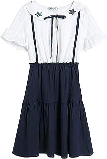 女性の夏の甘いかわいい人形の襟の刺繍五芒星の弓偽の2つの半袖ドレス (Color : White, Size : M)