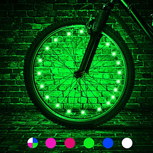 TINANA LED Bike Wheel Lights Ultra Bright Waterproof Bicycle Spoke Lights Cycling Decoration Safety Warning Tire Strip Light for Kids Adults Night Riding -1Pack (Green)