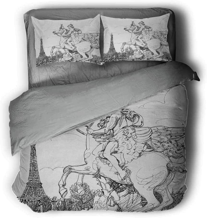 Soft and Breathable Full Black White Luoiaax Antique Hotel Luxury Bed Linen European Cityscape France Historical Sculpture Rearing Horse Eiffel Tower Print Polyester
