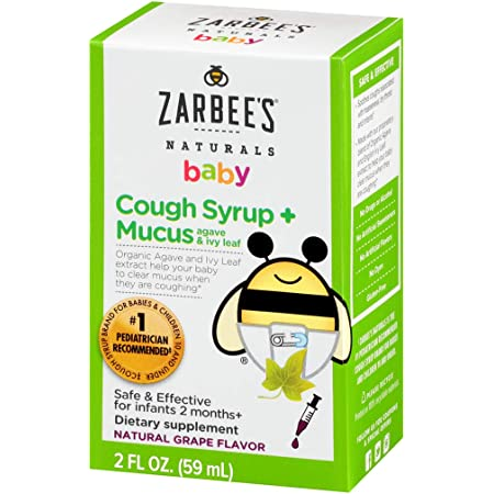 Zarbee's Naturals Baby Cough Syrup* + Mucus, Natural Grape Flavor, 2 Ounces