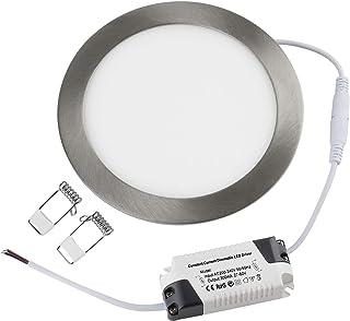 Panneau LED Rond 9W Dimmable 4/Packs Plafonnier Argent Brossé Blanc Chaud Ultraslim Plafonnier Encastré Ø150x25mm 700LM Si...