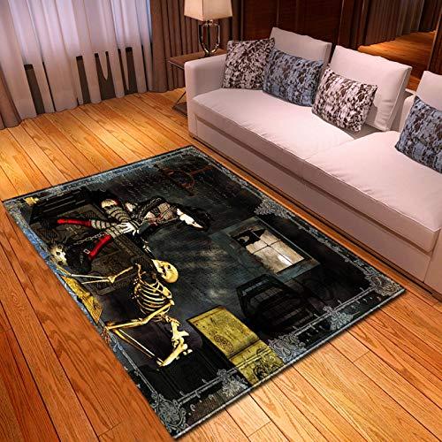 LGXINGLIyidian Casa Alfombra Serie Creativa del Cráneo del Demonio Oscuro Alfombra Suave Antideslizante De Decoración del Hogar De Impresión 3D T-2189K 120X180Cm