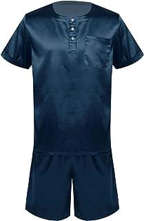 CHICTRY Mens Pajamas Set Satin Short Sleeve Tops and Shorts Sleepwear Pjs Loungewear Sets