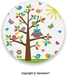 Tree with Cute Owl and Birds Sunny Summer Day in the Park Theme Cartoon,Fashion Coasters For Drinks Absorbent Multicolor,3.9×0.2inches(4PCS),Protect Furniture From Coffee Or Tea