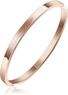 AURSTORE® Bracelet Jonc Fin en Acier Inoxydable 316L avec Message Phrases d'Inspiration Largeur 4 mm Plusieurs Messages et...