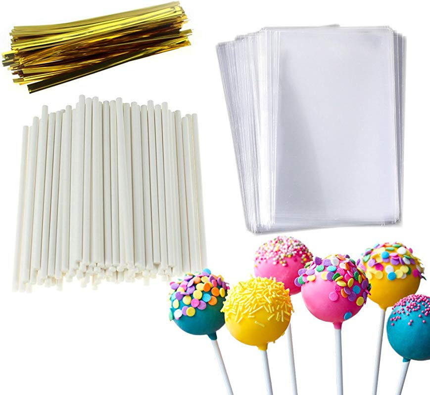 Cake Pop Treat Bag Set 100 PCS White Lollipop Sticks 100 PCS Lollipop Parcel Bags With 100 PCS Metallic Twist Ties