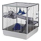 Ferplast Grande Cage pour Furets Furet Xl, Trois Niveaux avec Accessoires Hamac et Tunnels pour Furets, Grillage Métallique Vernis Gris avec Colonnes et Fond en Plastique, 80 X 75 X H 86,5 cm