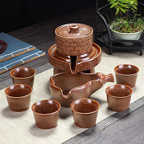 Juego de té, tetera simple para el hogar, molino de piedra, tetera de cerámica perezosa, taza anti escaldado, tetera semiautomática-Molino de piedra giratorio-Cerámica antigua marrón (con 6 tazas)
