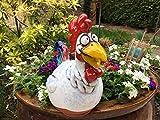 Keramik Gartenstecker Gartenkugel Blumenstecker Beetstecker Hahn