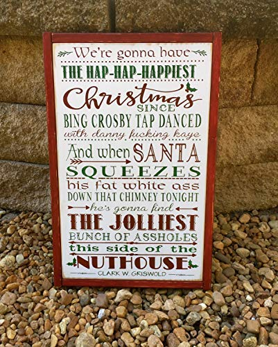 Funlaugh Christmas Vacation Sign National Lampoon Griswold Christmas Movie Quote Home Theater Sign Antique Cabin Wall Art Decoration Wooden Plaque Sign
