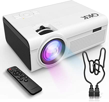 QKK Upgrade 2400Lumens Mini Projector - Home Theater Projector for Indoor & Outdoor Movies &...