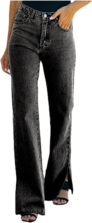 FUNEY Women High Waist Ripped Flare Jeans Loose Boyfriends Straight Leg Comfy Stretch Vintage Distressed Denim Pants