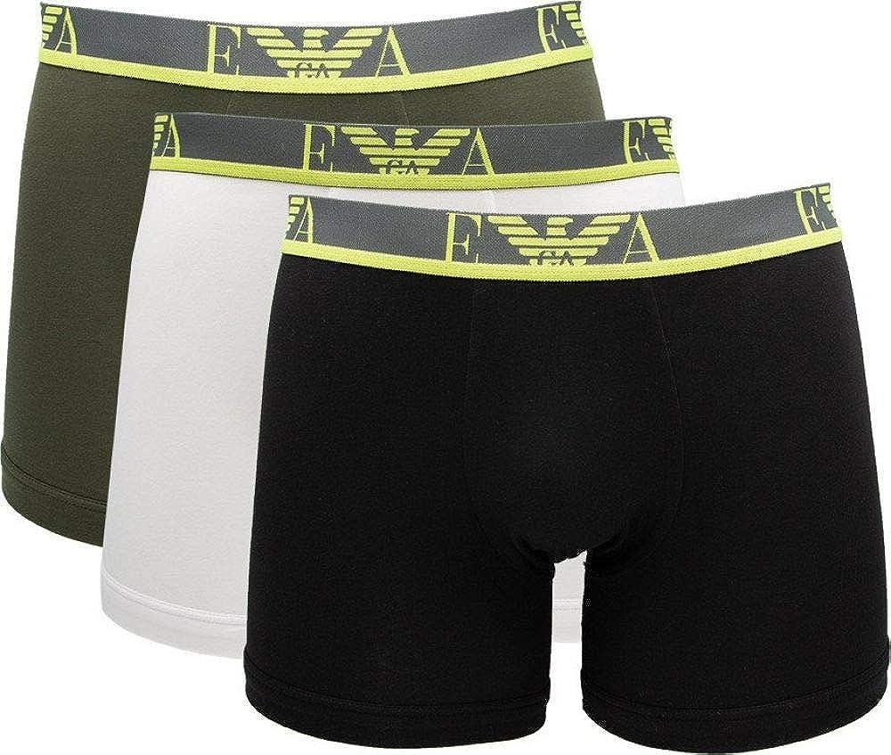 Emporio armani,3 paia di mutandine boxer per uomo, 95% cotone, 5% elastan, mbn 1114731P71575735C