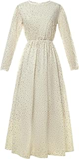 CR ROLECOS Pioneer Women Costume Floral Prairie Dress Deluxe Colonial Dress Laura Ingalls Costume