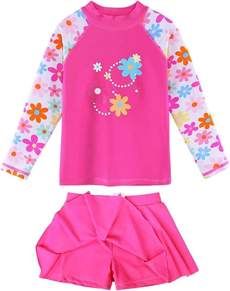 Manufacturer regenerated product BAOHULU Girl's Two-Piece Long Deluxe Sleeve Rash Guard Swimsuits UPF50+