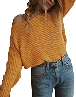 Women's One Shoulder Loose Pullover Sweater Batwing Sleeve Knit Jumper Top