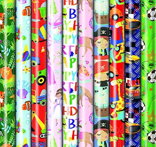 10 Rollen Kinder Geschenkpapier, Geburtstag, Feier Neutral 2m x0,7m, Geschenkverpackung