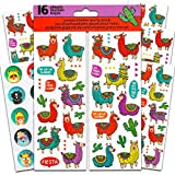 Llamas Stickers Party Favors Sticker Set -- 16 Sheets of Deluxe Llama Stickers with Hipster Animal Stickers (Llama Party Decorations Supplies)