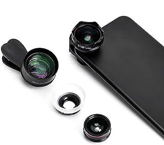 Mobile Phone Camera Lens Kit, 5 in 1 Universal 15X Telephoto Lens 2.8X Macro Lens 110° Wide-Angle Lens 230° Fisheye Lens 2...