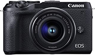 Canon M6IIKIS Digital Camera - Mirrorless Canon EOS M6 MKII Camera with EFM 15-45mm f/3.5-6.3mm IS STM Lens , Black (M6IIKIS)