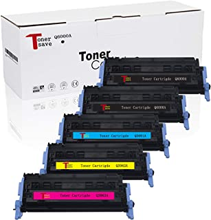 Tonersave Compatible Q6000A Q6001A Q6002A Q6003A HP 124A Color Toner Cartridge for HP Color Laserjet 2600N 1600 2605N 2605DN 2605DTN, CM1015 MFP CM1017 MFP Laser Printer 5 Pack