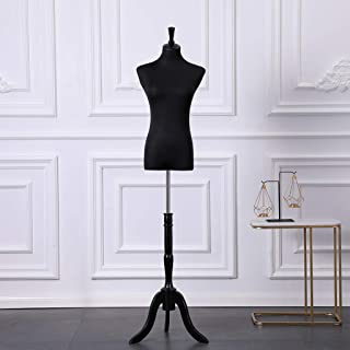 Loywe Mannequin de couture Buste de femme réglable en Hauteur avec trépied en Bois Taille 32-36 Noir LW6017S
