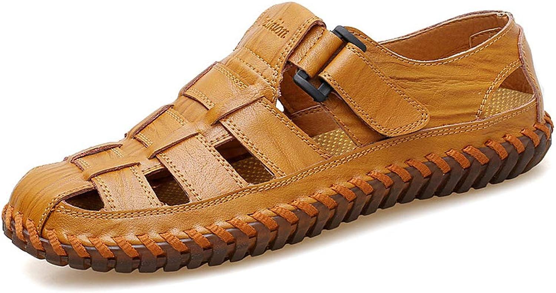 Men'S Sandals Hollow Leather Toe Cap Casual Cool shoes Breathable Beach shoes