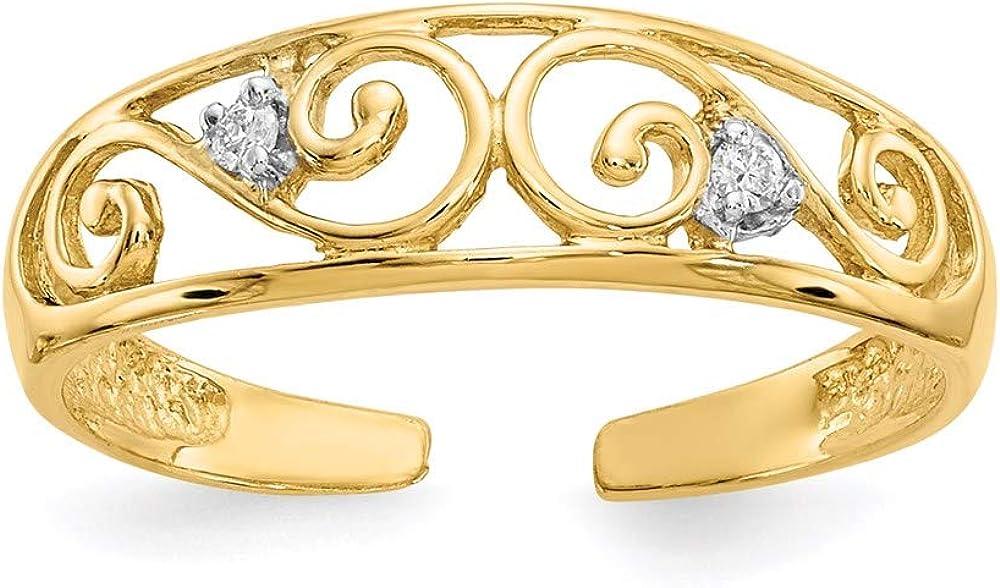 14K Yellow Gold .02ct Diamond Scroll Toe Ring (0.02Cttw)