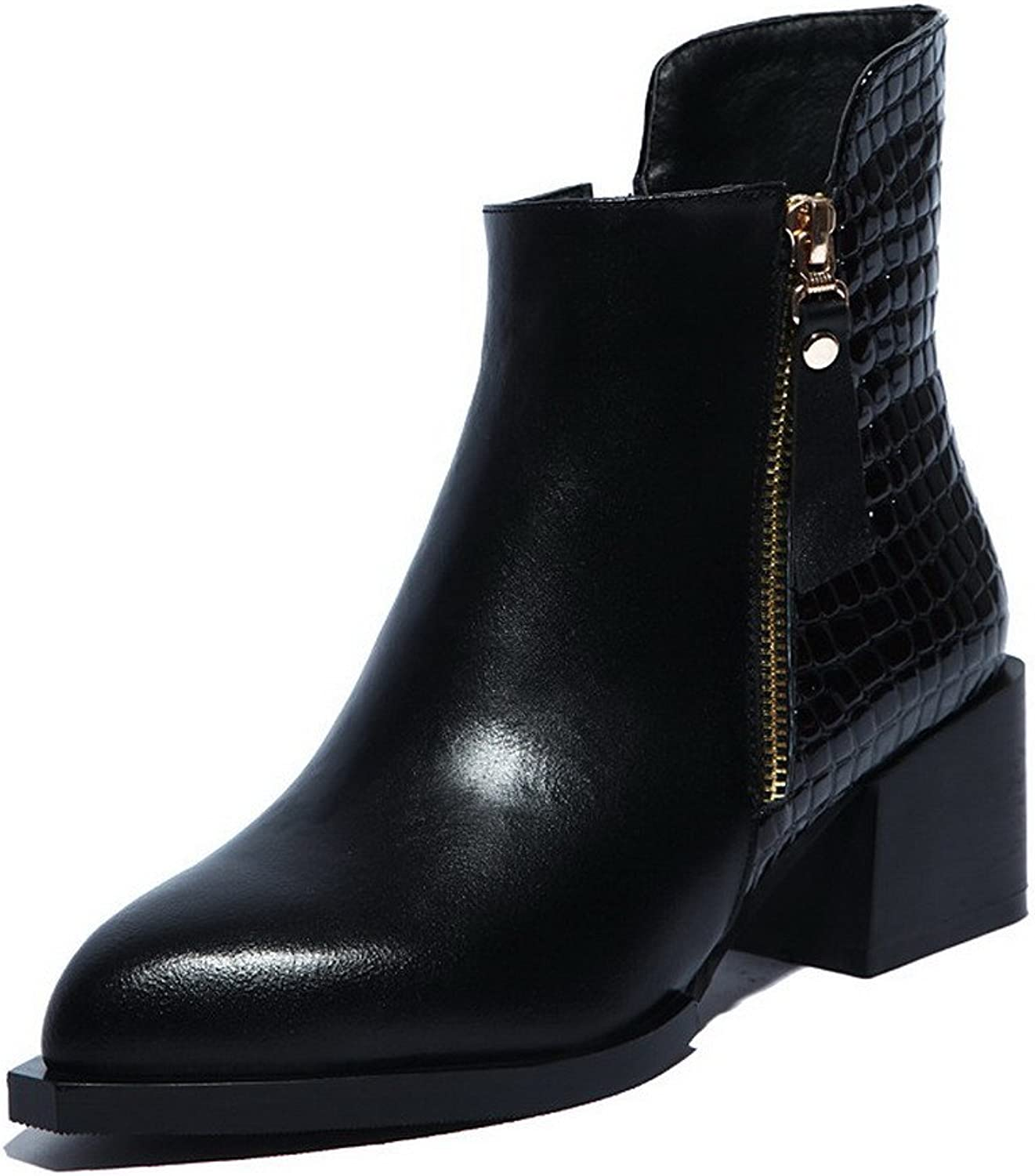 WeenFashion Women's Cow Leather Low-Heels Pointed-Toe Boots with Rubber Soles and Square Heels