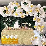 134Pcs Kit de guirnaldas con globos Kit de arcos con globos Confeti blanco y dorado lleno Paquete de...