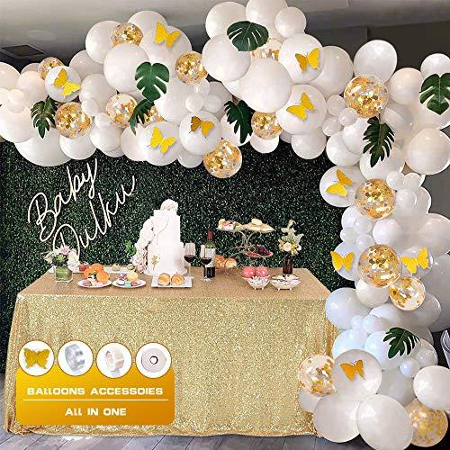 134 Stück Ballon Girlande Kit Latex Konfetti Luftballons Gold Weiß Ballons Partyzubehör für Hochzeit Geburtstag Party Dekorationen
