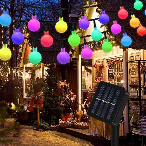 Lichterkette Solar Aussen, Vegena Bunt Globe LED Lichterkette Außen 7M 50 LEDs 8 Modi IP65 Wasserdicht Solarlampen für Garten Balkon Bäume Terrasse Hochzeit Weihnachten Party Deko Energieklasse A+++