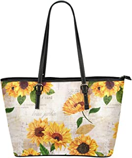 InterestPrint Elegant Dahlia Pinnata Lavender Flower Leather Casual Tote Handbag Daily Bag for Women