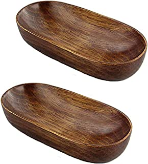 Green fox Boat Shape Wooden Towel Tray Small Salad Bowls Fruit Dishes Catchall Storage